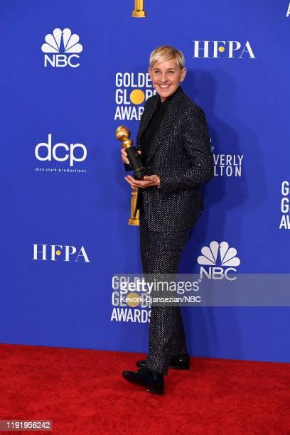 77th ANNUAL GOLDEN GLOBE AWARDS -- Pictured: Carol Burnett Award winner Ellen DeGeneres in the press room at the 77th Annual Golden Globe Awards held...