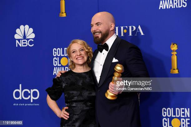 77th ANNUAL GOLDEN GLOBE AWARDS Pictured Chris Butler and Arianne Sutner winners of the Best Motion Picture Animation for Missing Link in the press...