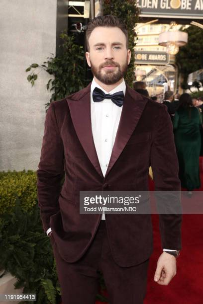 77th ANNUAL GOLDEN GLOBE AWARDS -- Pictured: Chris Evans arrives to the 77th Annual Golden Globe Awards held at the Beverly Hilton Hotel on January...
