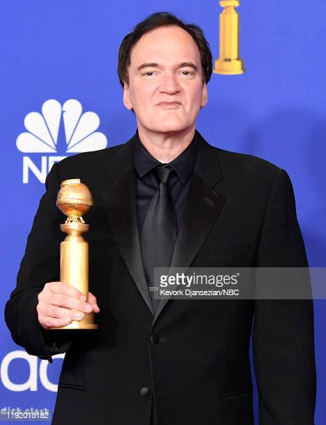 77th ANNUAL GOLDEN GLOBE AWARDS -- Pictured: Director Quentin Tarantino in the press room after winning the award for Best Screenplay - Motion...