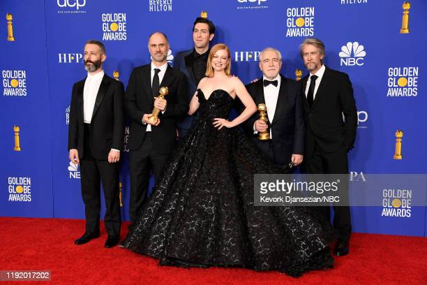 77th ANNUAL GOLDEN GLOBE AWARDS Pictured Jeremy Strong Jesse Armstrong Nicholas Braun Sarah Snook Brian Cox and Alan Ruck pose in the press room at...