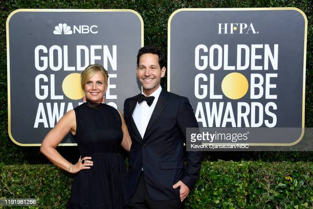 77th ANNUAL GOLDEN GLOBE AWARDS -- Pictured: Julie Yaeger and Paul Rudd arrive to the 77th Annual Golden Globe Awards held at the Beverly Hilton...