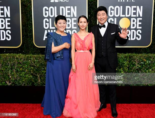 77th ANNUAL GOLDEN GLOBE AWARDS Pictured Lee Jung Eun Yeojeong Jo and KangHo Song arrive to the 77th Annual Golden Globe Awards held at the Beverly...