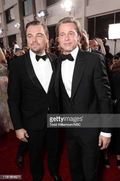 77th ANNUAL GOLDEN GLOBE AWARDS Pictured Leonardo DiCaprio and Brad Pitt arrive to the 77th Annual Golden Globe Awards held at the Beverly Hilton...