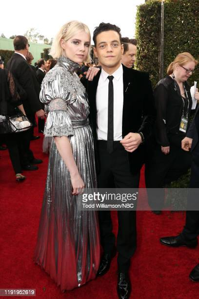 77th ANNUAL GOLDEN GLOBE AWARDS -- Pictured: Lucy Boynton and Rami Malek arrive to the 77th Annual Golden Globe Awards held at the Beverly Hilton...