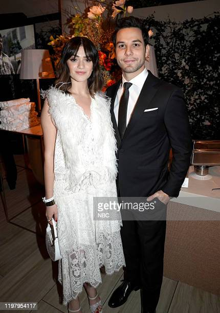 77th ANNUAL GOLDEN GLOBE AWARDS Pictured Luna Blaise and Skylar Astin attend the NBCUniversal Golden Globe Awards ViewingParty Sunday January 5 2020...