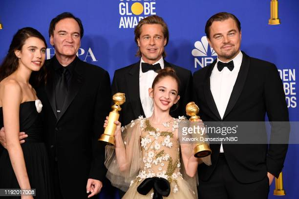 77th ANNUAL GOLDEN GLOBE AWARDS -- Pictured: Margaret Qualley, Quentin Tarantino, Brad Pitt, Julia Butters and Leonardo DiCaprio pose in the press...