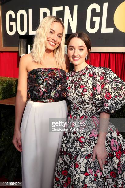 77th ANNUAL GOLDEN GLOBE AWARDS -- Pictured: Margot Robbie and Kaitlyn Dever arrive to the 77th Annual Golden Globe Awards held at the Beverly Hilton...