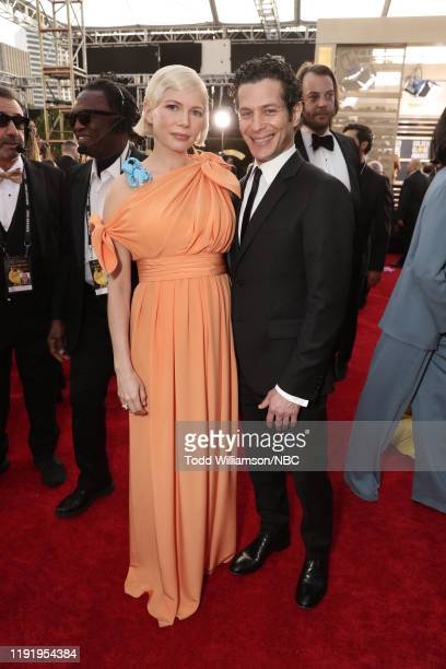 77th ANNUAL GOLDEN GLOBE AWARDS Pictured Michelle Williams and Thomas Kail arrive to the 77th Annual Golden Globe Awards held at the Beverly Hilton...