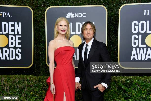 77th ANNUAL GOLDEN GLOBE AWARDS -- Pictured: Nicole Kidman and Keith Urban arrive to the 77th Annual Golden Globe Awards held at the Beverly Hilton...