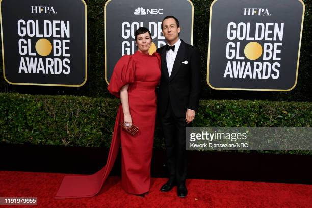 77th ANNUAL GOLDEN GLOBE AWARDS Pictured Olivia Colman and Tobias Menzies arrive to the 77th Annual Golden Globe Awards held at the Beverly Hilton...