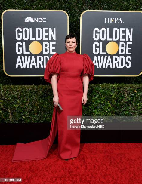 77th ANNUAL GOLDEN GLOBE AWARDS -- Pictured: Olivia Colman arrives to the 77th Annual Golden Globe Awards held at the Beverly Hilton Hotel on January...