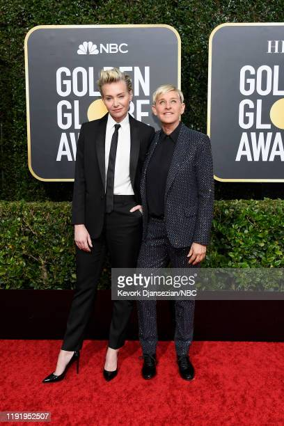77th ANNUAL GOLDEN GLOBE AWARDS -- Pictured: Portia de Rossi and Ellen DeGeneres arrive to the 77th Annual Golden Globe Awards held at the Beverly...