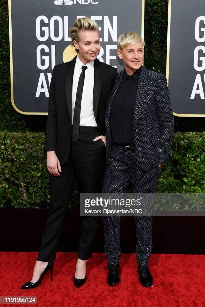 77th ANNUAL GOLDEN GLOBE AWARDS Pictured Portia de Rossi and Ellen DeGeneres arrive to the 77th Annual Golden Globe Awards held at the Beverly Hilton...