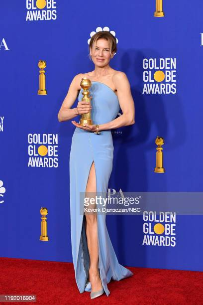 77th ANNUAL GOLDEN GLOBE AWARDS -- Pictured: Renee Zellweger poses in the press room after winning the award for Best Performance by an Actress in a...