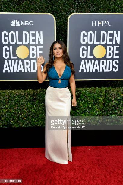 77th ANNUAL GOLDEN GLOBE AWARDS -- Pictured: Salma Hayek arrives to the 77th Annual Golden Globe Awards held at the Beverly Hilton Hotel on January...