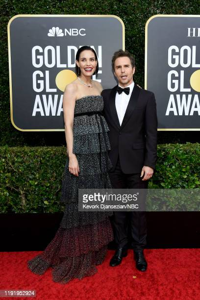 77th ANNUAL GOLDEN GLOBE AWARDS -- Pictured: Sam Rockwell and Leslie Bibb arrive to the 77th Annual Golden Globe Awards held at the Beverly Hilton...