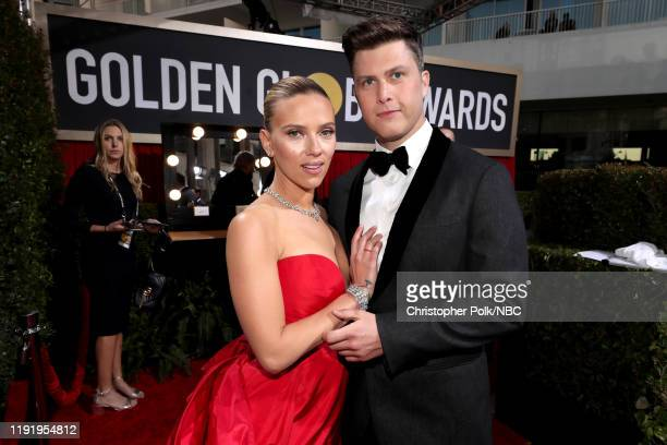 77th ANNUAL GOLDEN GLOBE AWARDS Pictured Scarlett Johansson and Colin Jost arrive to the 77th Annual Golden Globe Awards held at the Beverly Hilton...