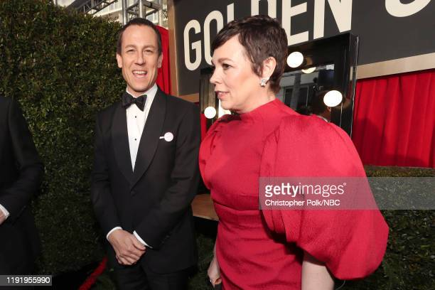 77th ANNUAL GOLDEN GLOBE AWARDS Pictured Tobias Menzies and Olivia Colman arrive to the 77th Annual Golden Globe Awards held at the Beverly Hilton...