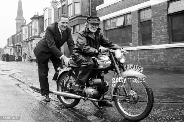 Year-old Florrie Ball with her new motorbike, 11th February 1969.