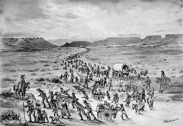 7/8/1930Handcarved emigrants on the way west Oregon trail An original drawing by William Henry Jackson