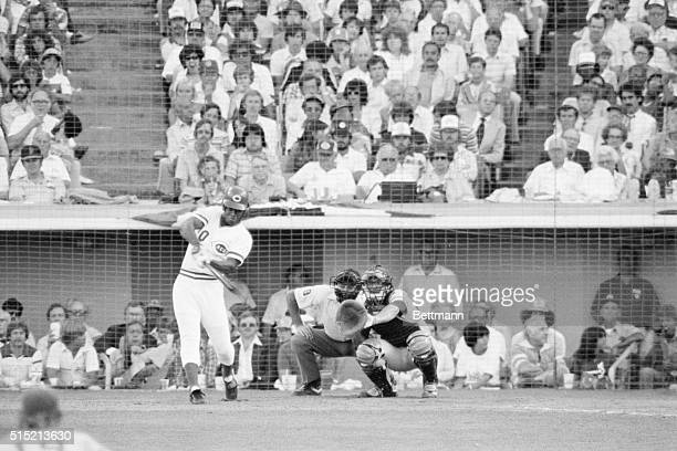 7/8/1980Los Angeles California Cincinnati's Ken Griffey is into his swing as he belts a 5th inning home run off Tommy John of the Yankees for the...