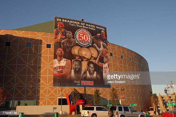 78ft tall banner is displayed on the southern wall of the Palace of Auburn Hills to celebrate the 50 seasons of the NBA on November 2, 2007 in Auburn...