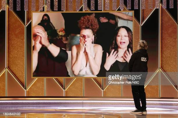 78th Annual GOLDEN GLOBE AWARDS -- Pictured: Andra Day reacts after being named winner of the Best Actress - Motion Picture Drama award for 'The...