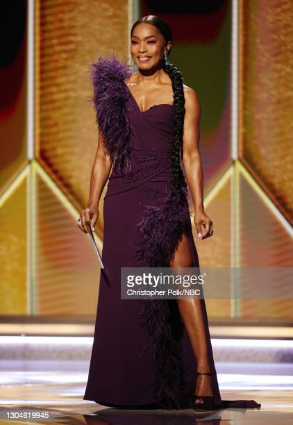 78th Annual GOLDEN GLOBE AWARDS -- Pictured: Angela Bassett speaks onstage at the 78th Annual Golden Globe Awards held at The Beverly Hilton and...