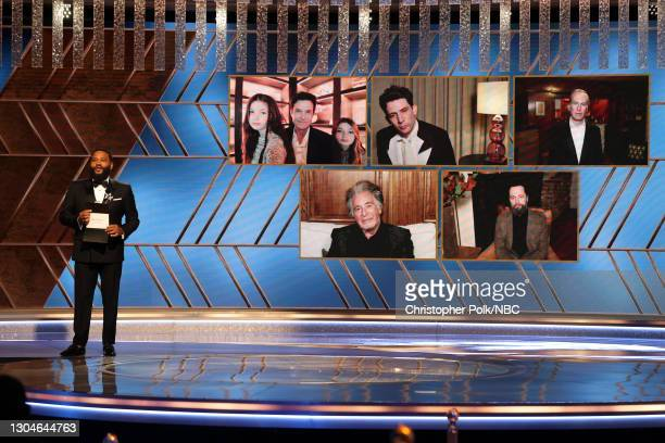 78th Annual GOLDEN GLOBE AWARDS -- Pictured: Anthony Anderson presents the Best Television Actor – Drama Series award onstage at the 78th Annual...