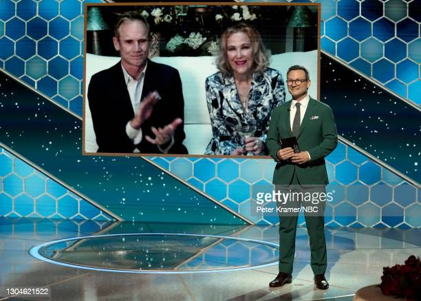 78th Annual GOLDEN GLOBE AWARDS -- Pictured: Catherine O'Hara accepts the Best Television Actress – Musical/Comedy Series award for 'Schitt's Creek'...