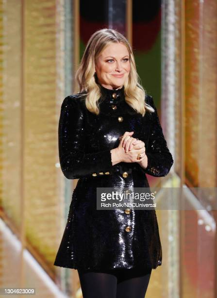 78th Annual GOLDEN GLOBE AWARDS -- Pictured: Co-host Amy Poehler speaks onstage at the 78th Annual Golden Globe Awards held at The Beverly Hilton and...