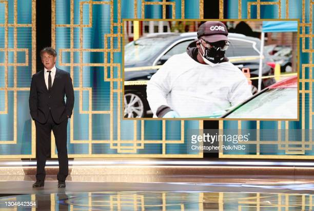 78th Annual GOLDEN GLOBE AWARDS -- Pictured in this image released on February 28, Sean Penn speaks onstage at the 78th Annual Golden Globe Awards...