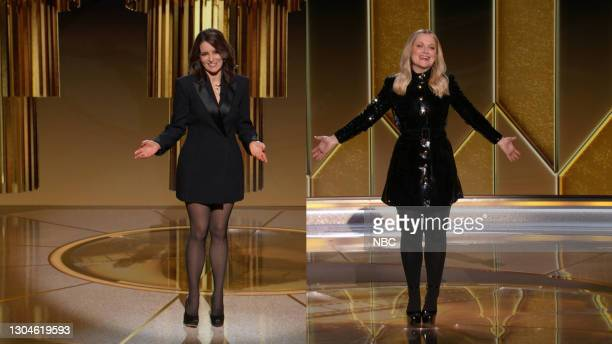 78th Annual GOLDEN GLOBE AWARDS -- Pictured in this screengrab released on February 28, Co-hosts Tina Fey and Amy Poehler speak onstage at the 78th...
