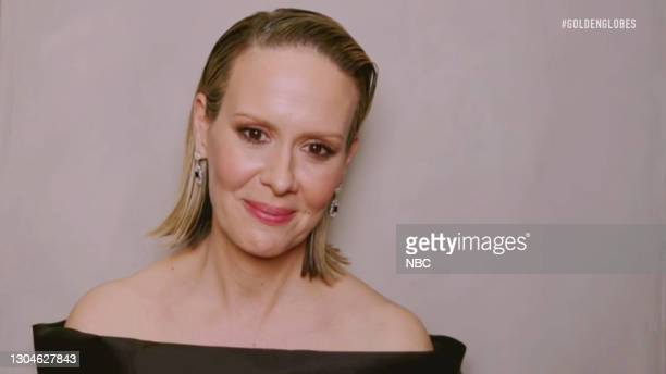 78th Annual GOLDEN GLOBE AWARDS -- Pictured in this screengrab released on February 28, Sarah Paulson speaks during the 78th Annual Golden Globe...
