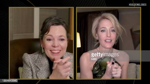 78th Annual GOLDEN GLOBE AWARDS -- Pictured in this screengrab released on February 28, Olivia Colman and Gillian Anderson, winner of Best...