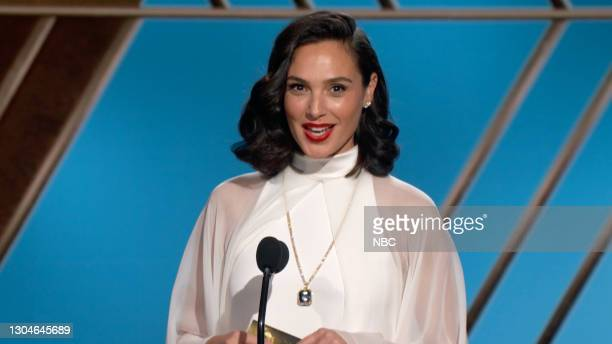 78th Annual GOLDEN GLOBE AWARDS -- Pictured in this screengrab released on February 28, Gal Gadot speaks onstage at the 78th Annual Golden Globe...