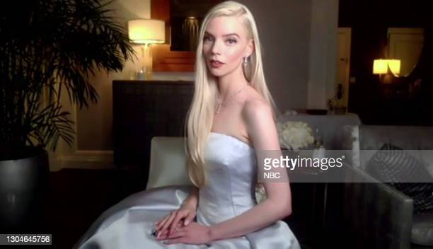 78th Annual GOLDEN GLOBE AWARDS -- Pictured in this screengrab released on February 28, Anya Taylor-Joy, winner of Best Performance by an Actress in...