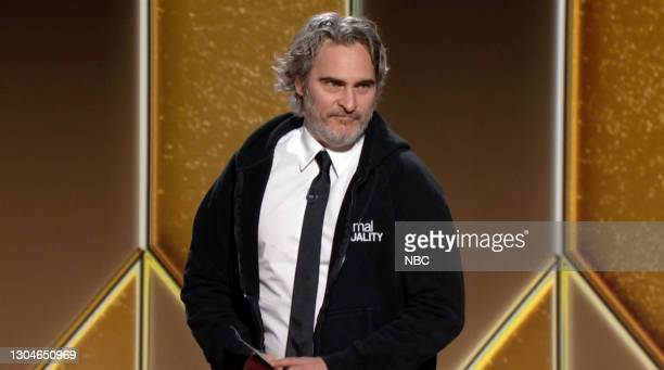 78th Annual GOLDEN GLOBE AWARDS -- Pictured in this screengrab released on February 28, Joaquin Phoenix speaks onstage at the 78th Annual Golden...