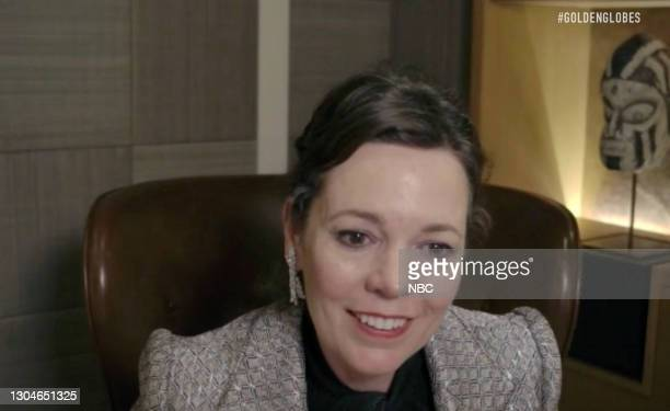 78th Annual GOLDEN GLOBE AWARDS -- Pictured in this screengrab released on February 28, Olivia Colman attends the 78th Annual Golden Globe Awards...