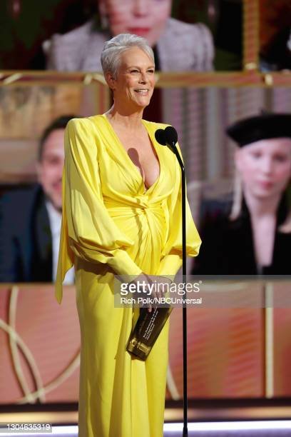 78th Annual GOLDEN GLOBE AWARDS -- Pictured: Jamie Lee Curtis speaks onstage at the 78th Annual Golden Globe Awards held at The Beverly Hilton and...