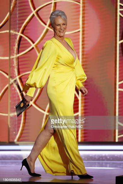 78th Annual GOLDEN GLOBE AWARDS -- Pictured: Jamie Lee Curtis walks onstage at the 78th Annual Golden Globe Awards held at The Beverly Hilton and...