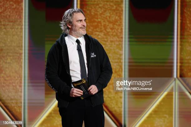 78th Annual GOLDEN GLOBE AWARDS -- Pictured: Joaquin Phoenix speaks onstage at the 78th Annual Golden Globe Awards held at The Beverly Hilton and...
