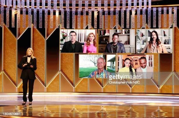 78th Annual GOLDEN GLOBE AWARDS -- Pictured: Laura Dern presents the Best Supporting Actor - Motion Picture award onstage at the 78th Annual Golden...