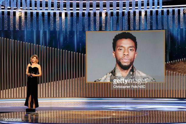 78th Annual GOLDEN GLOBE AWARDS -- Pictured: Renée Zellweger announces the late Chadwick Boseman as winner of the Best Actor - Motion Picture Drama...