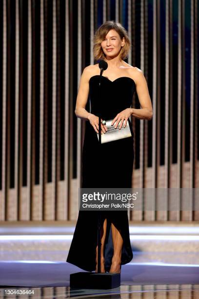 78th Annual GOLDEN GLOBE AWARDS -- Pictured: Renée Zellweger speaks onstage at the 78th Annual Golden Globe Awards held at The Beverly Hilton and...