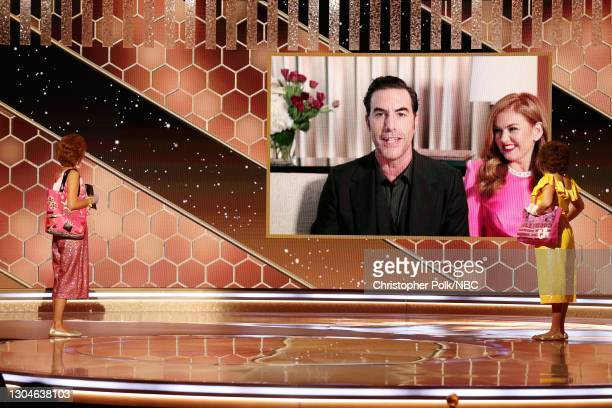 78th Annual GOLDEN GLOBE AWARDS -- Pictured: Sacha Baron Cohen accepts the Best Picture – Musical/Comedy award for 'Borat Subsequent Moviefilm' via...