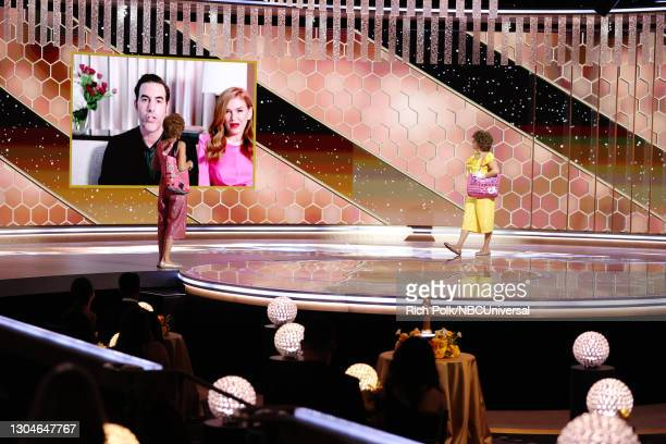 78th Annual GOLDEN GLOBE AWARDS -- Pictured: Sacha Baron Cohen accepts the Best Picture – Musical/Comedy award for 'Borat Subsequent Moviefilm' from...