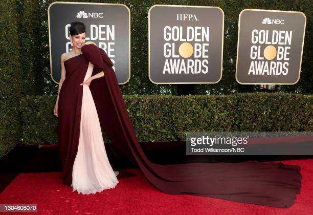 78th Annual GOLDEN GLOBE AWARDS -- Pictured: Sofia Carson attends the 78th Annual Golden Globe Awards held at The Beverly Hilton and broadcast on...