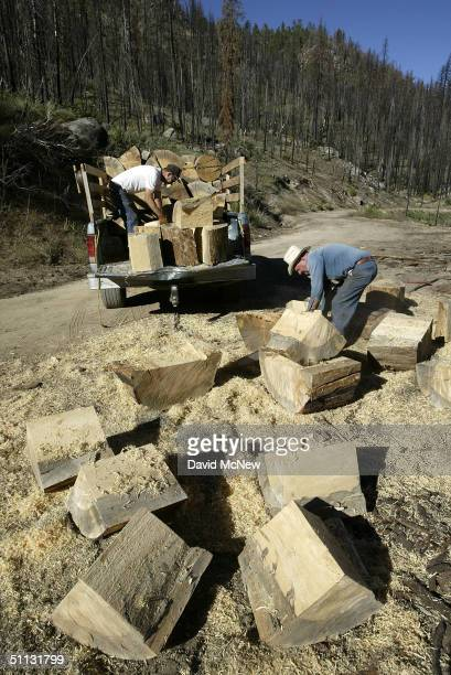 78yearold Jack Morgan who has been a wood cutter since retiring 16 years ago and Jim McNease load their truck with wood burned in the massive McNally...